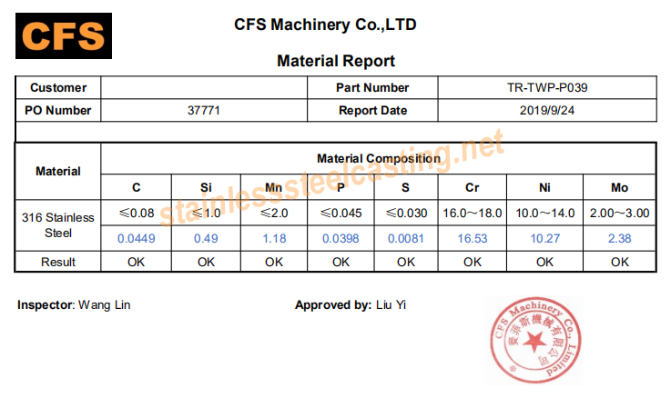 Material Report of Stainless Steel Casting Part